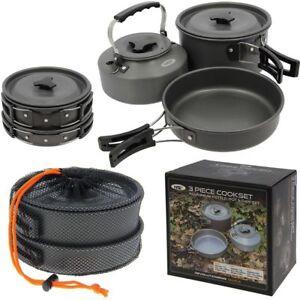 NGT NEW 3 Piece Cook Set Carp Fishing Cooking Set Kettle Frying Pan Pot & Lid