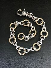Italian 18k Yellow Gold & Sterling Silver Open Circle Link Chain Bracelet 7.75""
