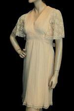 S Vtg 70s EMPIRE Waist Mini Dress Pale Peach Crinkle Pleat Lace Flutter Sleeve
