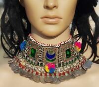 Handmade Vintage Boho Kuchi Afghan Banjara Tribal Gypsy Coins Choker Necklace