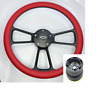"14"" Black Billet Steering Wheel (Red Half Wrap, Chevy Horn Button, Adapter A01)"