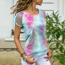 Women O-Neck Short Sleeve Cut Out Sleeve Tie-dye Print Casual Top Blouse NA