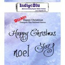 Indigoblu Happy Christmas A7 Red Rubber Stamp by Kay Halliwell-Sutton
