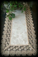 "Dresser Scarf Table Runner Doily Rose Lace Jacquard Champagne Color 36"" x 16"""