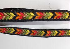 33mm black multucolour jacquard embroidered ribbon applique motif trimming decor