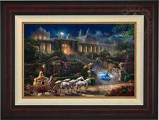 Thomas Kinkade Disney Cinderella Clock Strikes Midnight 18x27 LE GP (Burl Frame)