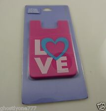 Id card holder Lanyard Claire's pink love stick on phone or other item