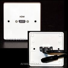 AV Wall Plate, 1 Gang, HDMI Socket with flex-tail, v2.0 ready HD 2k4k + Ethernet