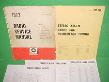 1972 CORVETTE CAMARO FIREBIRD GTO 442 DELCO AM-FM STEREO RADIO SERVICE MANUAL 72