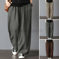 ZANZEA Womens Elastic Waist Baggy Straight Pants Wide Leg Casual Loose Trousers