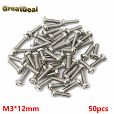 50x M3*12mm Screw M3x12mm Stainless Steel Screws Toys Computer Host Panel Mount