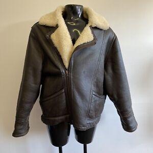 Vintage sheepskin fur brown Leather flying jacket JF Collection Size XL (#H1/16)