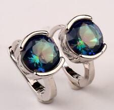 18K White Gold Filled - 8mm Round Blue MYSTIC Topaz Gemstone Wedding Earrings