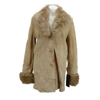 Terry Lewis Classic Luxuries Women Small Faux Fur Coat Beige Long Sleeve 06360