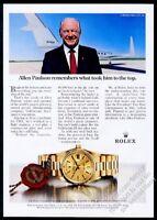 1983 Rolex President Day Date watch Gulfstream Allen Paulson photo print ad