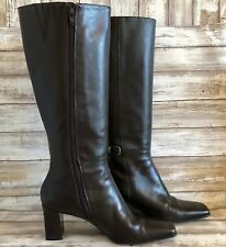 Michelle D Big Top Brown Leather Knee High Boots Shoes Square Toe Zip Women 8.5W