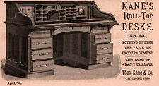 1890 AD THOS KANE CO ROLL TOP DESK NO 84