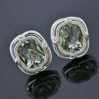 David Yurman 925 Sterling Silver Diamond Prasiolite Large Labyrinth Earrings