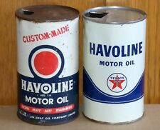 2 Canadian TEXACO HAVOLINE 1 Imp. Qt motor oil tin can McColl-Frontenac FREE S/H