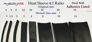 Heat Shrink Sleeve  4:1 Ratio Sleeving Electric Tube cable protection Black,