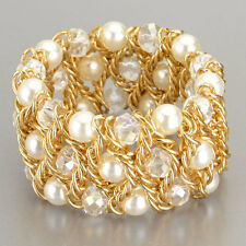 Clear Stone Pearl Gold Chain Detail Stretchable Bracelet