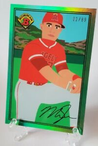2021 Bowman X Keith Shore Mike Trout Green Refractor #2/89 -Angels 1989 Bowman!!