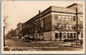 CICERO, Illinois RPPC Photo Postcard J. Sterling Morton High School Street View