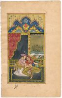 Hand Painted Indian Miniature Painting Mughal King And Queen Love Scene On Paper