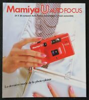 Catalogue appareil photo MAMIYA U Auto focus 24x36 catalog Katalog