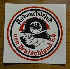 ORIGINAL VINTAGE WATER DECAL GERMAN AUTO CLUB VW PORSCHE HELMET HOT ROD RAT OLD