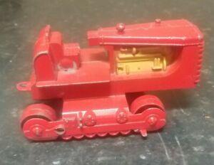 "Vintage 1950s Hubley Diecast 5"" Red Bulldozer Gold Engine No tracks or blade"