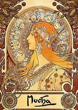 MUCHA, ART NOUVEAU, ASTROLOGY, ZODIAC, WOMAN WITH SYMBOLS, SM SIZE,  MAGNET