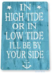 TIN SIGN High Low Tide Beach House Cottage Metal Décor Art Kitchen A989
