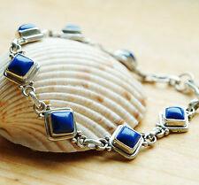 Massiv Armband Silber Lapis Lazuli Handarbeit 20 cm Indigo Blau Schlicht Glanz