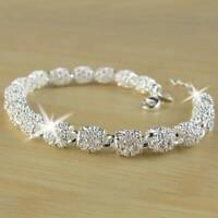 Fashion Women's 925 Silver Charm Chain Bangle Bracelet Wedding Jewelry Gifts