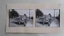 1950s B/W Photograph. Man Sitting on Car Bumper/ Fender. Opel Kapitan
