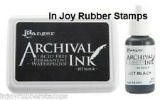 Ranger JET BLACK Ink Pad, Reinker Refill or Jumbo Archival Acid-free Waterproof