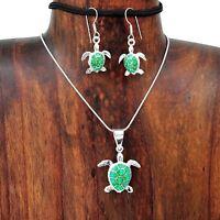 Artisan Silver Green Opal Sea Turtle Tortoise Pendant Earring Set Taxco Mexico