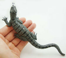 "6.42"" Lizard Gecko Pin Brooch Black Rhinestone Crystal Classic Women Animal"