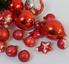 Boules de Noël anciennes vintage verre tons rouge orangé