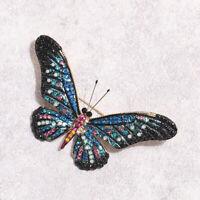 Broche Pin Doré Gros Insecte Papillon Email Bleu Noir Rose Vif Strass Retro XZ9