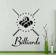 Billiard Wall Decal Vinyl Billiards Sports Pool Sticker Decor Home Mural(2bi)