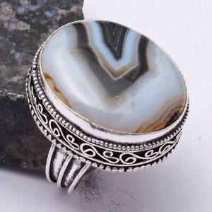 Botswana Agate Ethnic Handmade Antique Design Ring Jewelry US Size-7.75 AR 40177