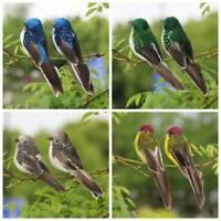 2x Clip-on Mini Fake Birds Christmas Tree Ornaments Festival Garden Decor Uii