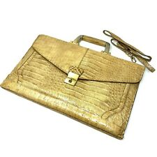 New listing Vintage Amelia Berko Leather Reptile Embossed Caramel Leather Briefcase w/Strap