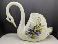 """Vintage Ceramic White with color Hand painted Swan Planter Vase 7"""" tall"""