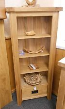 Chunky American OAK 1 drawer Bookcase / CD /DVD Unit SOLID & FULLY ASSEMBLED