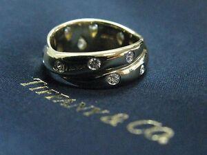 Tiffany & Co 18Kt/PT950 Etoile Twist Diamond Yellow Gold Ring Size 5.5