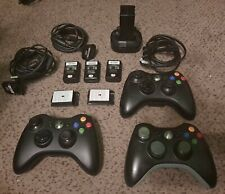3 Genuine OEM Official Microsoft Xbox 360 Wireless Controller Black Batteries +