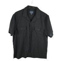 Lucky Brand Men's Solid Auto Button Down Shirt Size L Black Short Sleeve Pockets